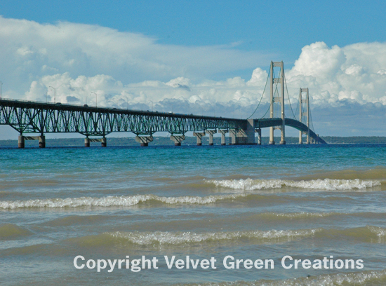 Spanning the Straits of Mackinac, the Mackinac Bridge is the world's 16th longest suspension bridge and the 3rd longest in the Nation.  It connects Michigan's Lower Peninsula and Upper Peninsula.  Connecting city's are Mackinaw City and Upper Peninsula's St. Ignace.